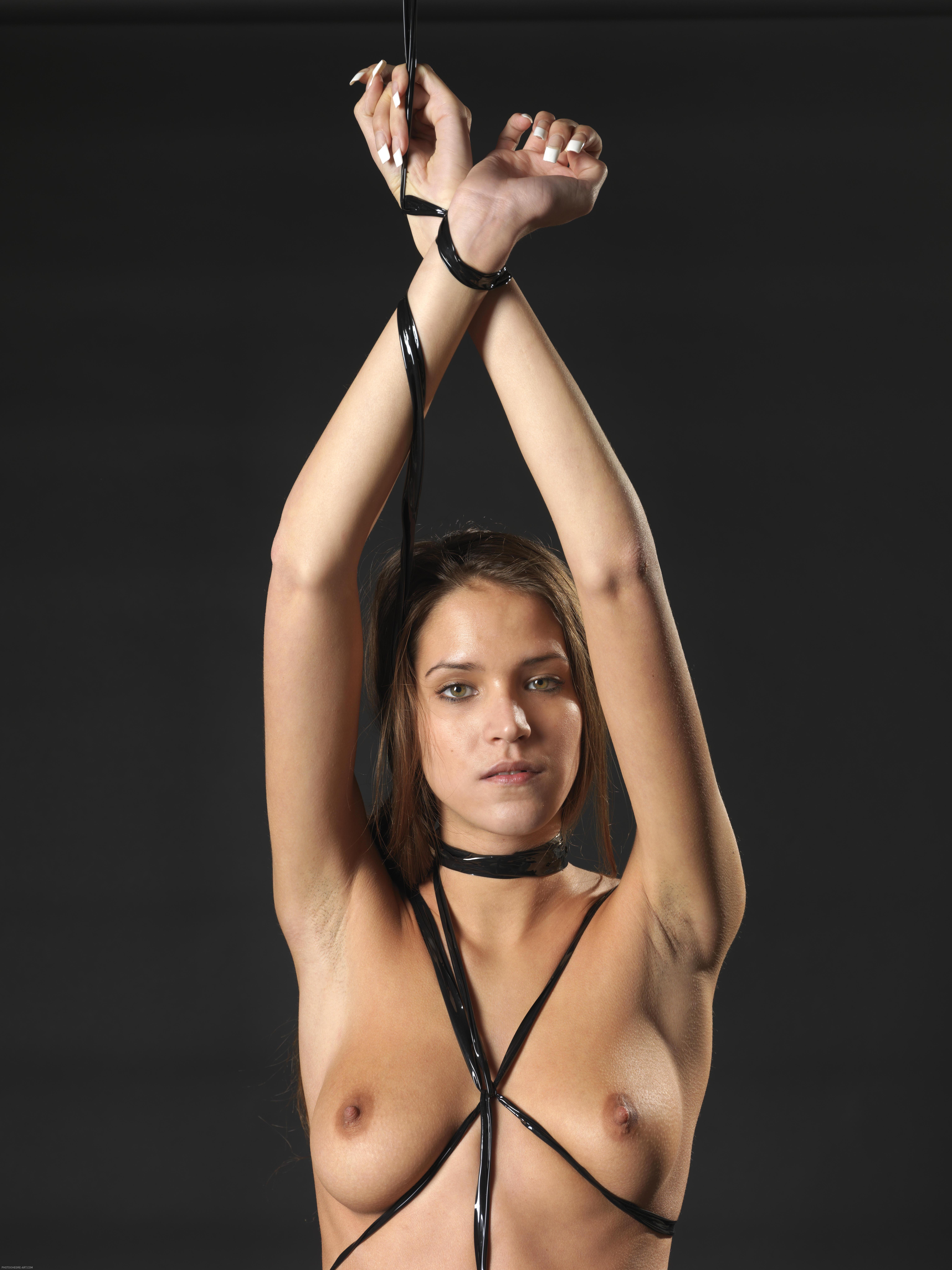 Black on black bondage